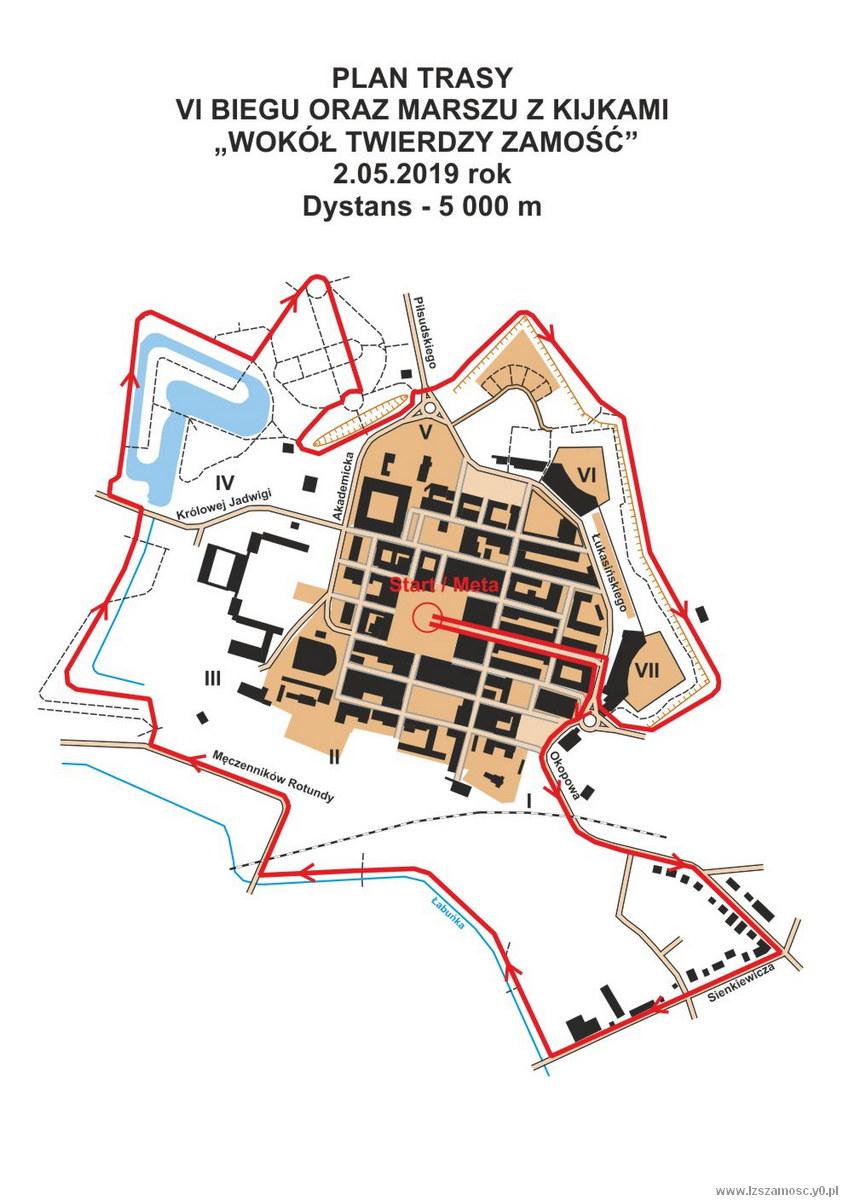 Mapa Trasy Biegu Wokol Twierdzy Zamosc 2019 Powiatowe I Miejskie